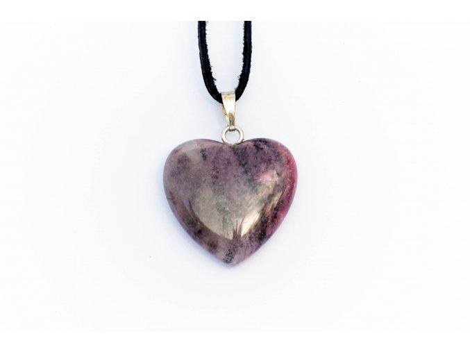 Přívěsek srdce Rodonit tromlovaný 20mm