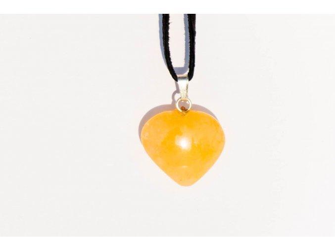 Přívěsek srdce Kalcit medový 20mm