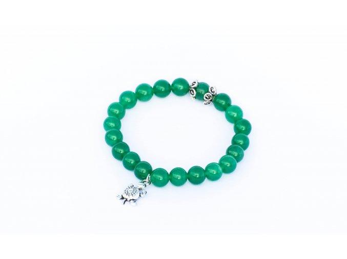 Avanturín zelený náramek ozdobený -želva, 8mm