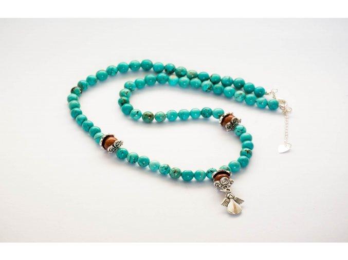 Tyrkys náhrdelník 6mm -přívěšek anděl