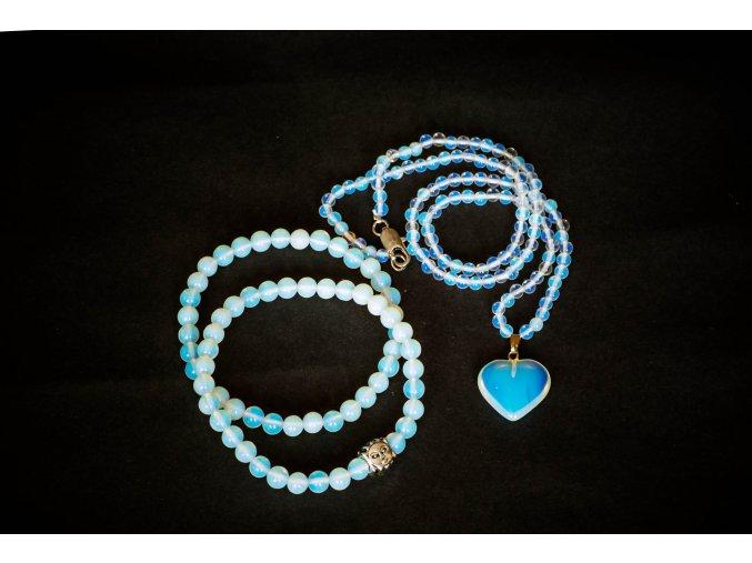 Opalit sada - náramky, náhrdelník, přívěsek srdce