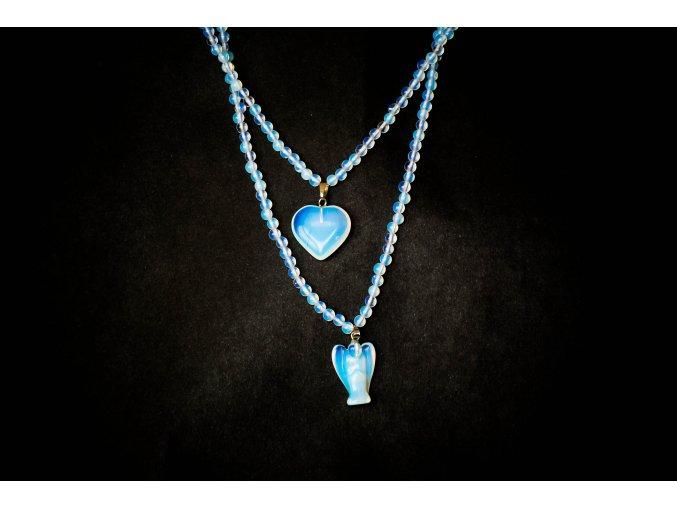 Sada Opalit  - náhrdelník, přívěšek srdce a andělíček