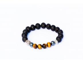 Náramek pro muže - lávový kámen, tygří oko, hematit