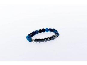 Náramek pro děti - achát modrý, hematit, 6mm