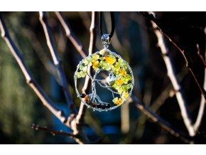Přívěsek strom života olivín, tygří oko, jantar průměr 5cm