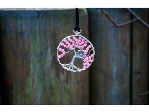 Přívěsek strom života - achát ružový, průměr 5cm