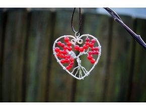 Přívěsek strom života v srdci - červený korál průměr 5cm