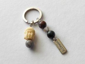 """Klíčenka """"Namaste"""", jaspis polychrom, Buddha"""