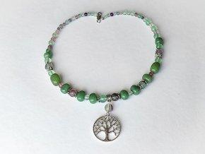 Náhrdelník zelený avanturín, fluorit, přívěsek strom života