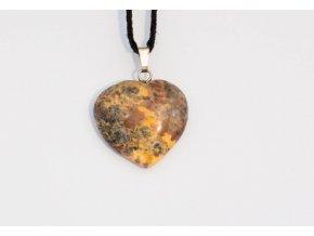 Přívěsek srdce Jaspis žlutý leopardí