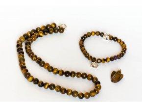 sada Tygří oko  - náhrdelník, náramek, přívěsek