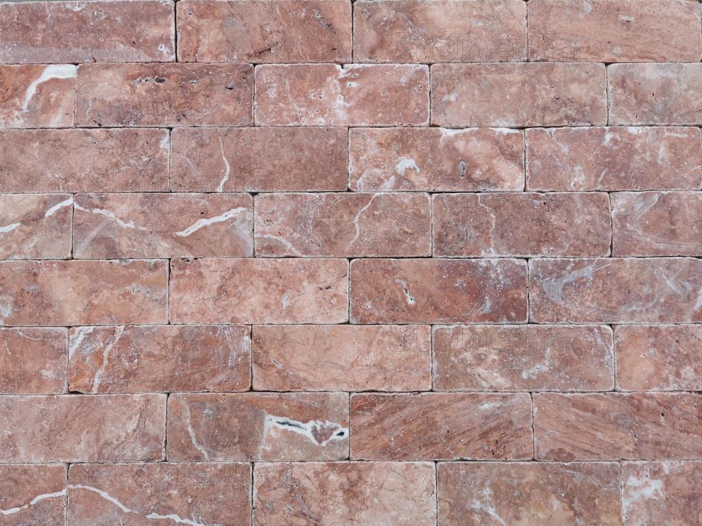 Travertin Red cihličky - 20,3 cm x 7,5 cm x 1 cm