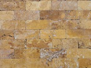 Travertin Gold cihličky - 20,3 cm x 7,5 cm x 1 cm