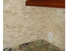 split face travertine kitchen backsplash