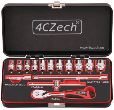 4CZECH 1/4'' 15dílná sada nástrčných hlavic 4-14mm + ráčna 72 zubů