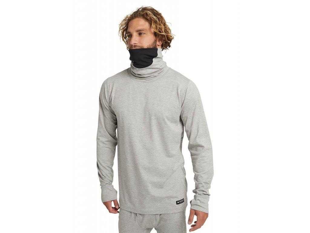 Pánské Termoprádlo Burton Midweight Base Layer Long Neck Shirt Gray Heather
