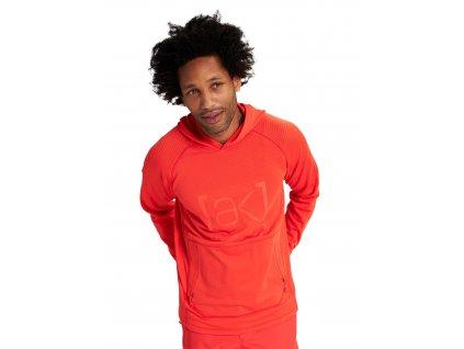 Pánská Mikina Burton [ak] Helium Grid Hooded Pullover Fleece Fiesta Red
