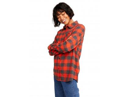 Dámská Košile Burton Grace Long Sleeve Flannel Fiesta Red Heather Buffalo Plaid