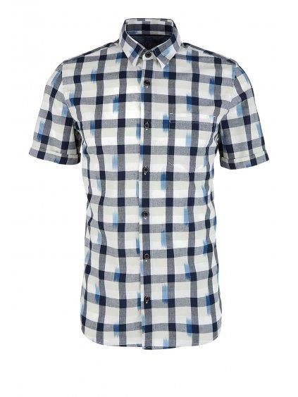 s.Oliver pánská károvaná košile slim fit krátký rukáv modrá