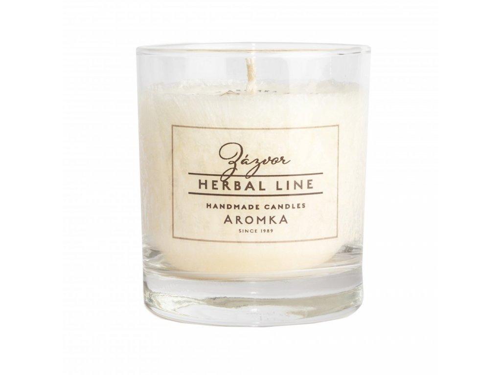 Přírodní vonná svíčka palmová AROMKA Herbal Line Whiskovka, 200ml Zázvor