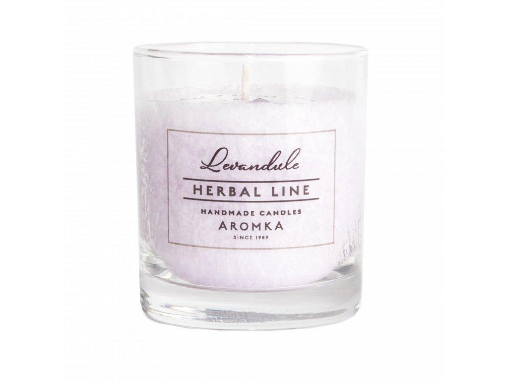 Přírodní vonná svíčka palmová AROMKA Herbal Line Levandule