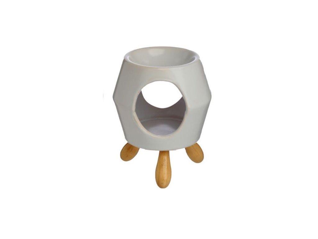 Keramická aromalampa s podstavcem Bílá