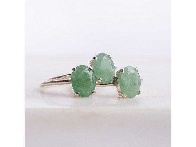 prsten zelený křemen