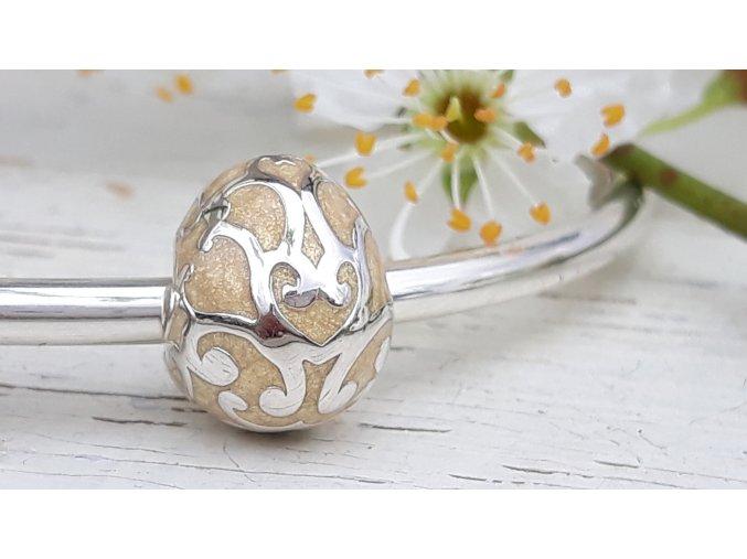 Vejce - Easter Egg Swirl Enamel Bead Charm - Gold