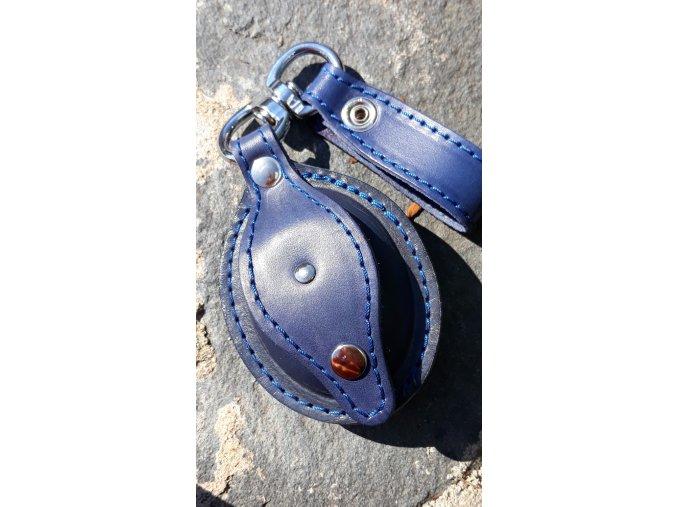 kožená šperkovnice ovál- modrá