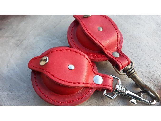 kožená šperkovnička kulatá- červená