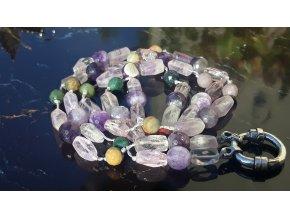 náhrdelník z polodrahokamů- WP Higher Ground Strand -Intuition- Amethyst, Jasper, Silver