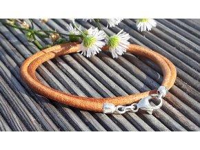 kožený náramek hnědý - brown leather bracelet