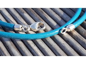 kožený náramek modrý- blue leather bracelet