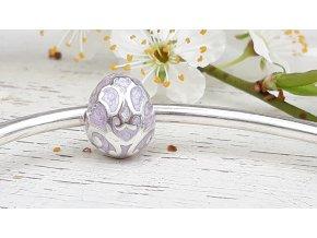 Vejce - Easter Egg Swirl Enamel Bead Charm - Purple