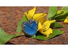 Srdce s modrým obsidiánem - BLUE OBSIDIAN HEART GEM BEAD