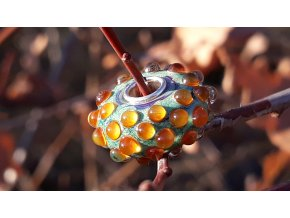 rusty orange grass dewdrops