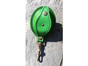Kožená šperkovnice ovál- zelená