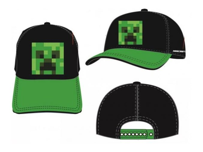 Kšiltovka Minecraft j026 | Černo-zelená