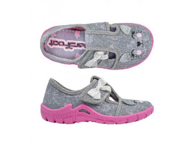 Papuče 3F barefoot dívčí | Šedé