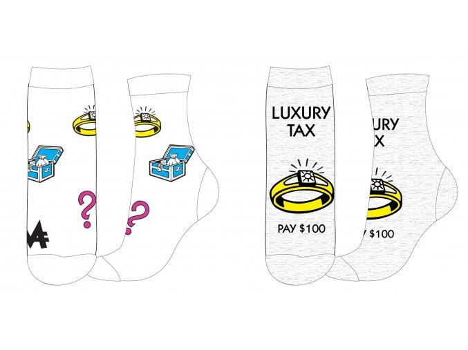 Ponožky Luxury tax   53 34 009/010 SINGLE   Bílé / šedé