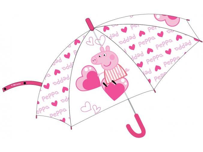 Deštník Prasátko Peppa   52 50 765   Průhledný - růžový