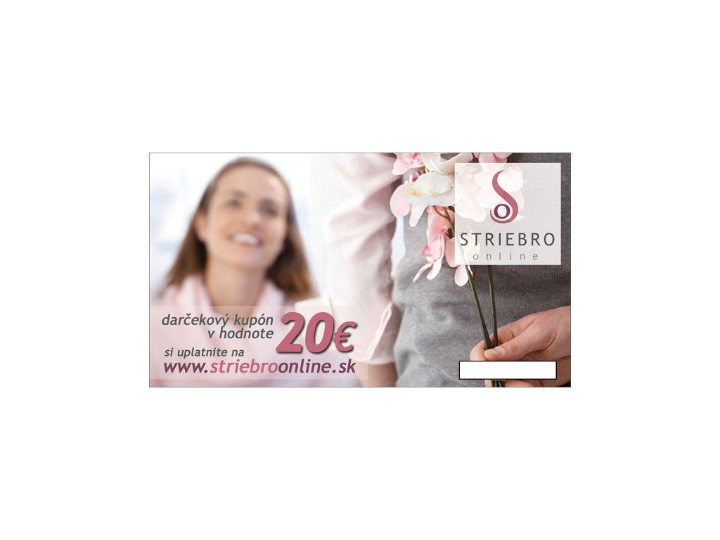 Darcekový kupón v hodnote 20€ - STRIEBRO online 8dbb5d23465