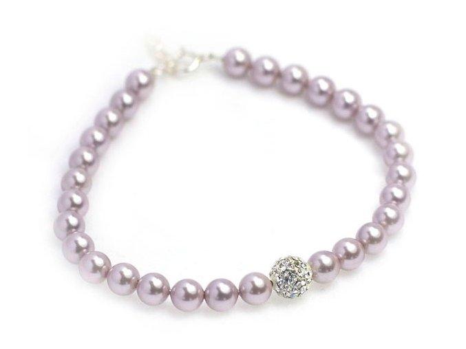 Strieborný perlový náramok fialový
