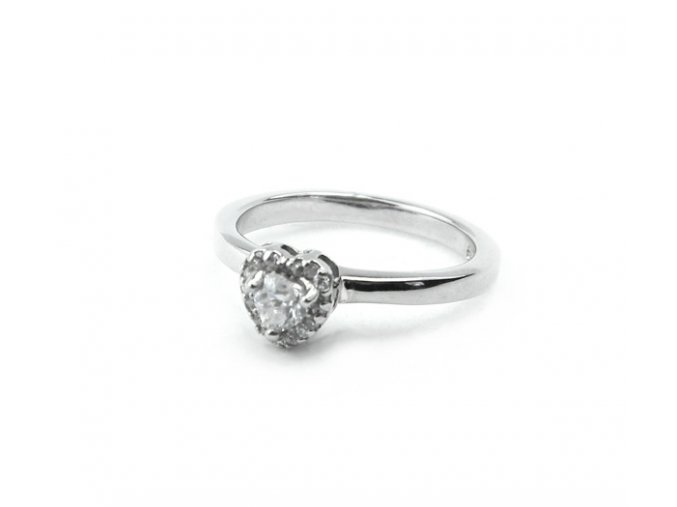 Zásnubný strieborný prsten srdce