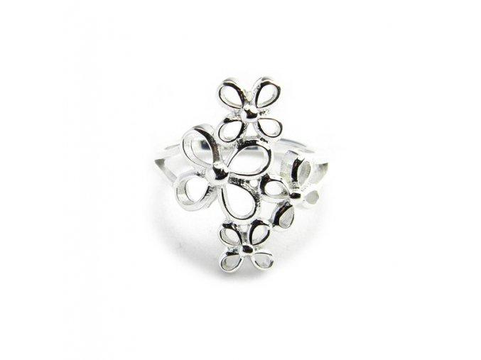 Prsten strieborný kvety