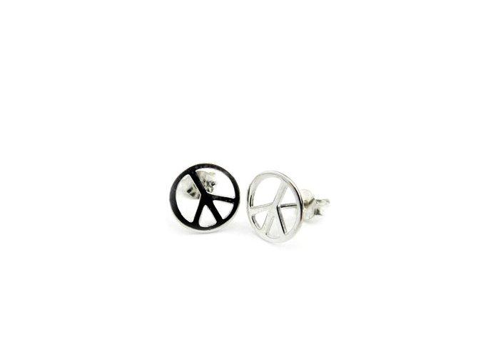 Strieborné náušnice Peace Symbol