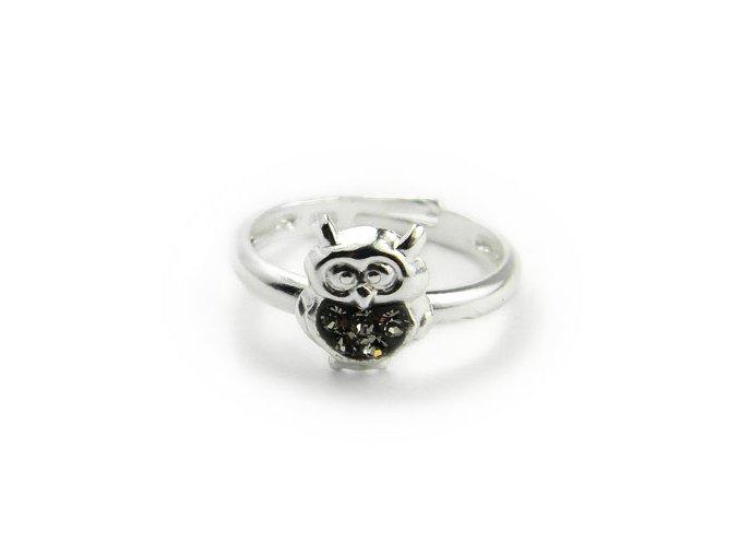Detský strieborný prsten nastavitelný sovicka