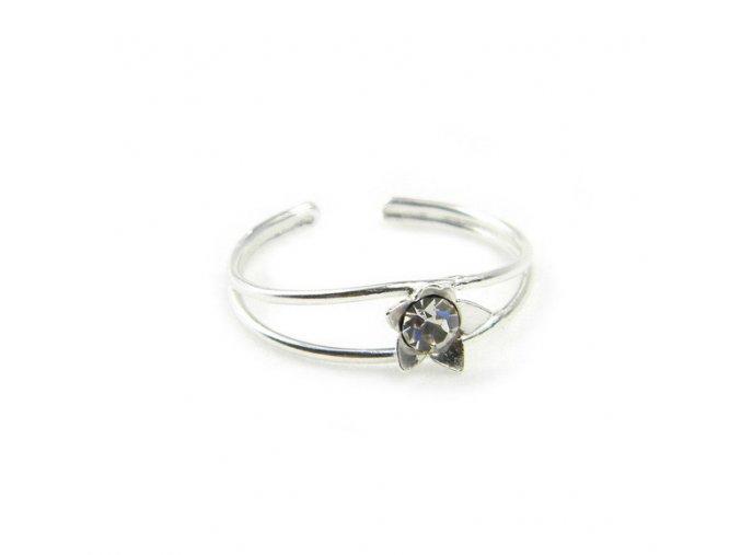 Strieborný prsten na nohu kvet