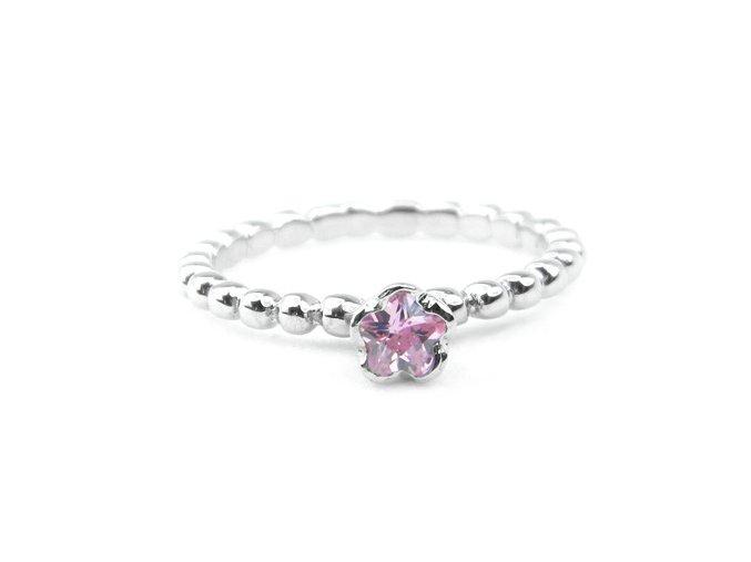 Prsten strieborný kvietok, ružový