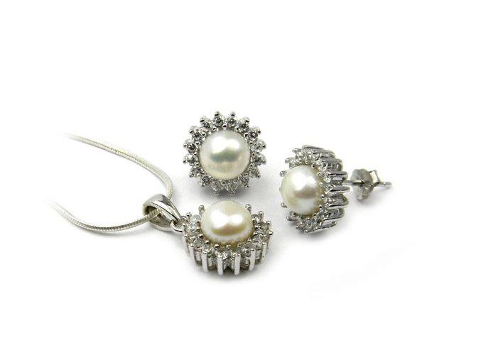 Strieborný perlový set